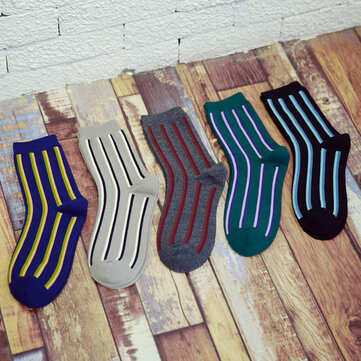 Men Vertical Stripe Middle Tubes Socks Cotton Warm Sock