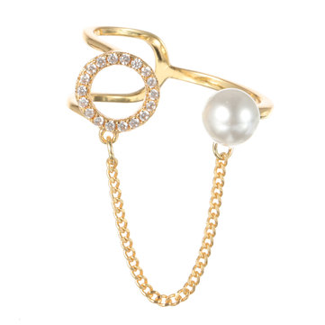 Trendy Open End Ring 18K Gold Plated Zirconia Round Pearl