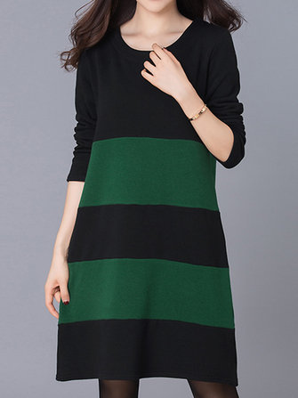 Casual Women Loose Striped Patchwork Long Sleeve Thicken Dress