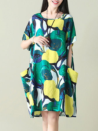 Plus Size S-5XL Women Floral Pockets Dresses