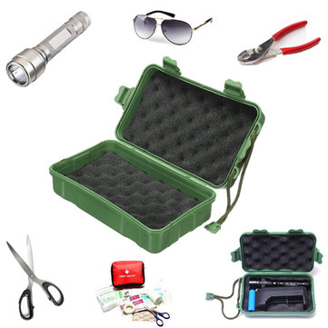 Green Plastic Flashlight Tools Storage Case Box 202x121x65mm