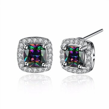 INALIS Sweet Zircon Ear Stud Rhinestone Platinum Earrings For Women