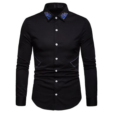 Men Embroidery Solid Color Button Up Shirts