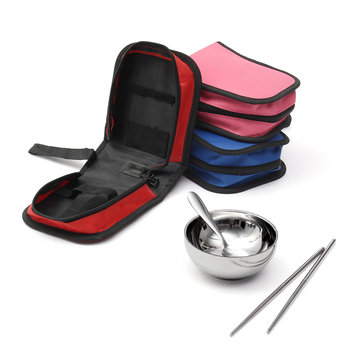 IPRee™ Outdoor 3 Pcs Sets Portable Stainless Steel Bowl Chopsticks Spoon Storage Bag Travel Picnic Cooking