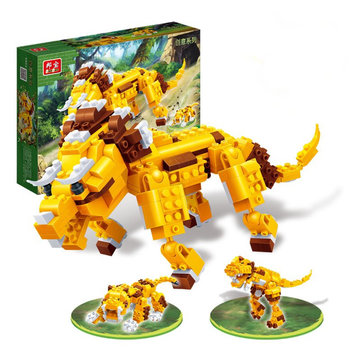 BanBao Animal Blocks Toys 3 In 1 Triceratops Tyrannosaurus Tiger Educational Building Bricks Toys