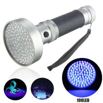 100xLED UV Blacklight Scorpion Detector Ultra Violet LED Flashlightt AA