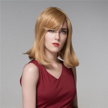 Cabelo humano peruca de médio e longo elegante estrondo lado Remy virgem reto 8 cores para escolher top mono