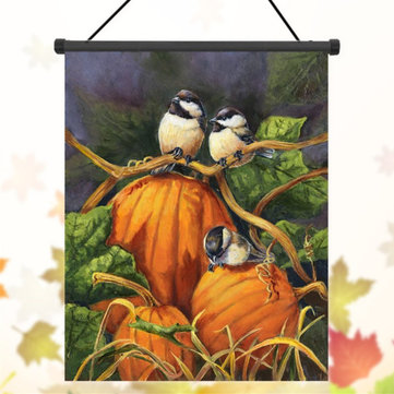 30x45cm Thanksgiving Polyester Pumpkins Birds Welcome Flag Garden Holiday Decoration