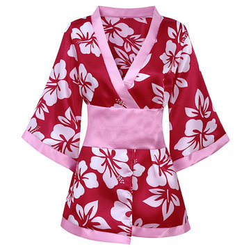 Women Sexy Print Floral Soft Deep V Temptation Smooth Kimonos Nightdress With G-string