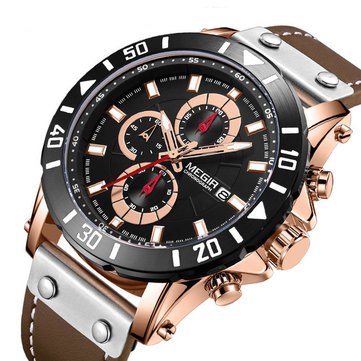 MEGIR 2081 Chronograph Luminous Waterproof Quartz Watch