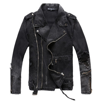 Black Punk Ripped Denim Jacket Personalized Oblique Asymmetrical Zipper Placket Men Jeans Coat