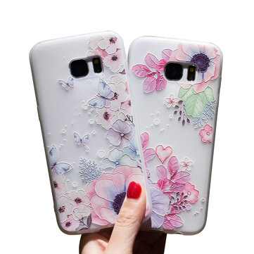 Bakeey 3D Relief Printing Flower Butterfly Soft Protective Case for Samsung Galaxy S7 Edge