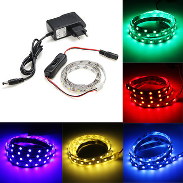 1M Non-Waterproof 60 LED SMD5050 Flexible Strip Light Set with Switch and Power Adapter