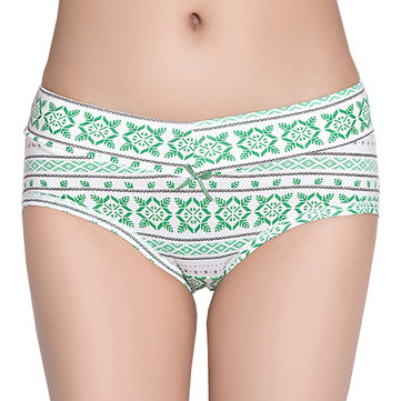 Cosy Soft Cotton Underwear Snow Geometric Printing Low Waist Thin Panties