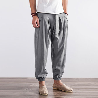 Mens Nnational Sweatpants Loose Cotton Linen Pants