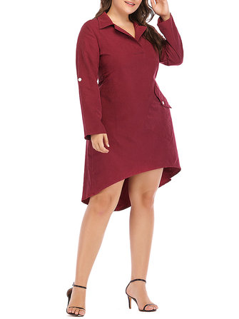 Women Brief Work Style Long Sleeves Irregular Hem Dress with Button