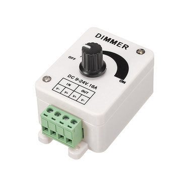 LED Manual Switch Adjustable Dimmer Controller DC 9-24V 1 Channel 16A For Single Color Strip Light