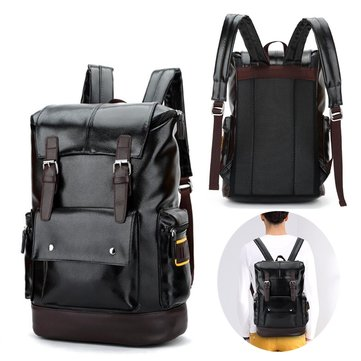 Men Retro PU Leather Shockproof Casual Travel Backpack Laptop Rucksack School Bag