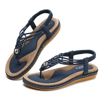 SOCOFY Large Size Women Shoe Knitted Casual Soft Sole Outdoor Beach Sandals