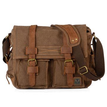 Men Canvas Genuine Leather Big Outdoor Casual Shoulder Crossbody Bag
