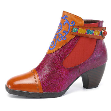 socofy Women Flower Short Boots