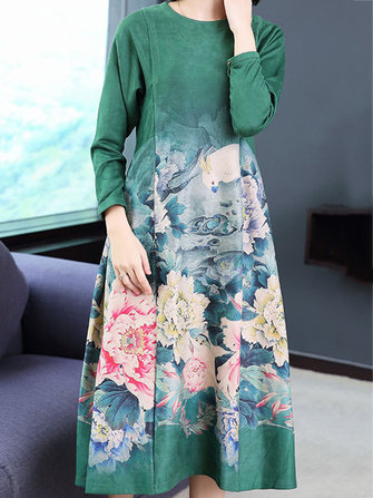 Women Long Sleeve Floral Print O-neck Loose A-Line Dress