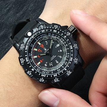 WAITIME ™ 8015 Militaire Affichage Lumineux Hommes Montre-Bracelet Silicone Bracelet à Quartz