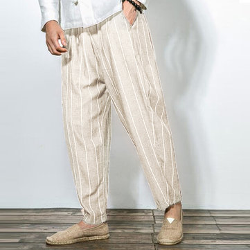 Men Casual Cotton Baggy Harem Pants Fashion Vintage Stripes Straight Long Trousers