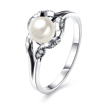 YUEYIN S925 Sterling Silver Eye Shaped Zircon Artificial Pearl Engagement Ring