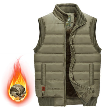 Mens Outdoor Stand Collar Thick Fleece Warm Solid Color Vest