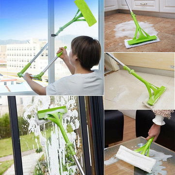 Telescopic High-rise Window Cleaning Brush Glass Cleaner Double Side Glass Scraper Wiping Tool