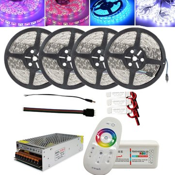 4x5M SMD5050 Non-waterproof LED Strip Light+2.4G RF Remote Controller+DC12V Lighting Transformer