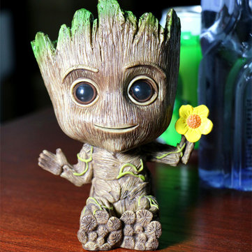 Gardening Baby Groot Plants Flower Pot America Action Figures Toy Mini Pen Pot Storage Vessel