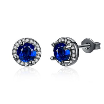 INALIS Round Diamond Ear Stud Gun Black Plated Earrings Jewelry Gift for Women