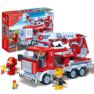 BanBao Fire Fighting Ladder Truck Bricks Educational Building Blocks Toy Model Compatible With Le go