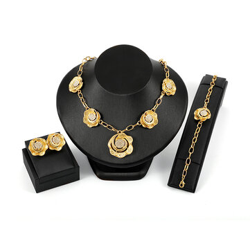 Luxury Bridal Jewelry Set Rhinestone 18K Gold Flower Charm Necklaces Earrings Jewelry for Women