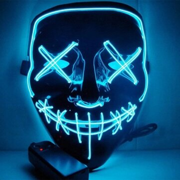 DC3V Batttery Powered EL LED Cold Light Flash Grimace Fluorescent Mask with Controller for Halloween