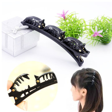Women Black Hair Clip Barrette Hairpin Braid Styling Tools Plastic