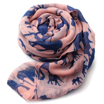 Women Scarf Winter Warm Animal Cute Elephant Print Paris Yarn Shawl Wrap Pashmina