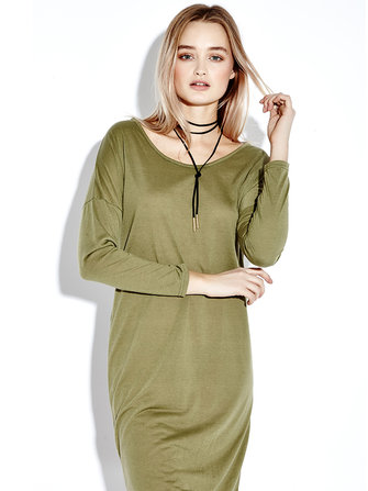 Silm Long Sleeve Solid Color High Low Hem Women Dresses