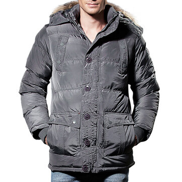 Mens Winter Windproof Pockets Furry Hood Warm Padded Jacket