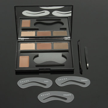 4 Colors Eyebrow Palette Stencils Makeup Set Matte Cream Eyeshadow Mirror Tweezer Brushes Comestic
