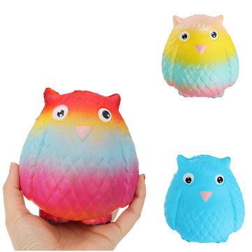 Jumbo Squishy Rainbow Owl 12cm Soft Slow Rising Toy With Original Packing