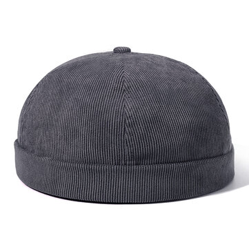 Mens Womens Winter Corduroy Adjustable French Brimless Hat