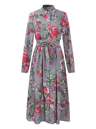 OEUVRE Women Long Sleeve Floral Printed Button Down Shirt Dress with Belt