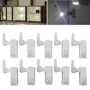 10pcs 0.18W Cabinet Hinge LED Warm/ White Light Auto Switch Wardrobe Emergency