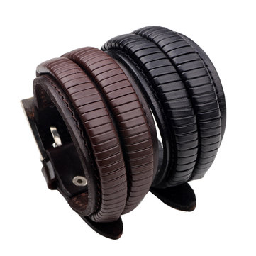 Adjustable Leather Multilayers Woven Men Bracelet Jewelry Clothing Accessories