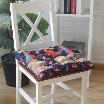 40x40cm Soft Thicken Cushion Buttocks Chair Cushion Linen Outdoor Square Cotton Seat Pad Decoration Ethnic Style Fabric Cotton Padded Dining Chair Cushion Breathable Square Printed Tatami Mat