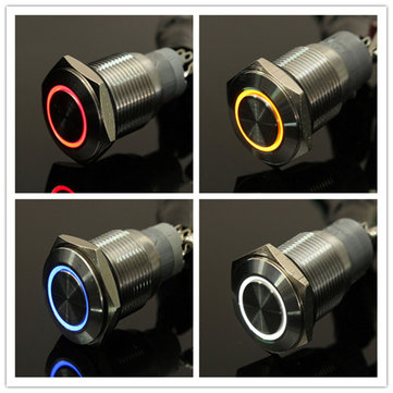 12V 16mm Latching Angel Eye LED Push Button Switch Flat Head Metal illuminated Switch 8 Pins
