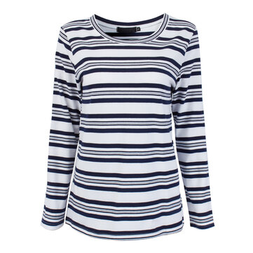Women Stripe Three Quarter Sleeve Loose Casual Cotton T-shirt